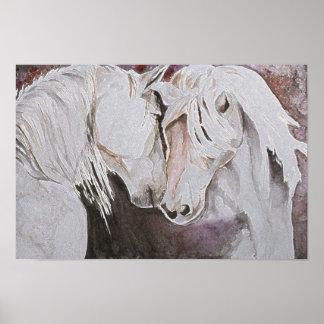 Estilo de la acuarela del cartel de los caballos,  póster