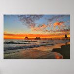 Estilo de la costa oeste de la puesta del sol poster