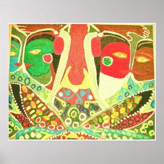 Estilo de la cueva - pintura tribal del amor impresiones