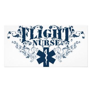 Estilo de la enfermera del vuelo tarjetas con fotos personalizadas