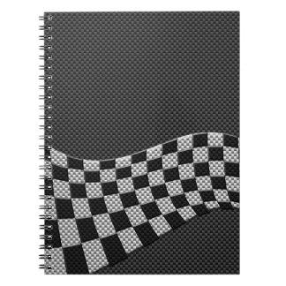 Estilo de la fibra de carbono que compite con la libro de apuntes con espiral