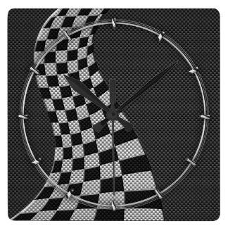 Estilo de la fibra de carbono que compite con la reloj cuadrado