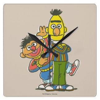 Estilo de la obra clásica de Bert y de Ernie Reloj Cuadrado