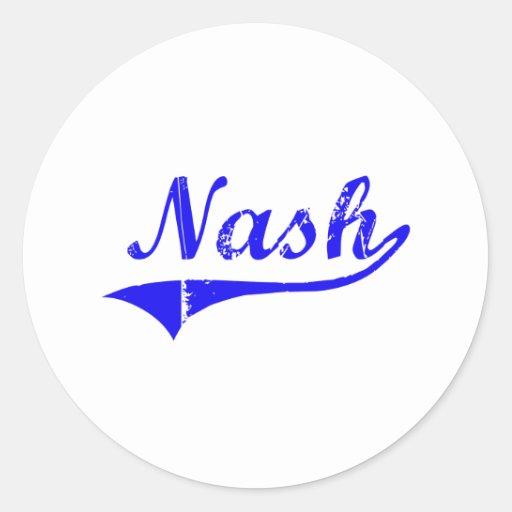 Estilo de la obra clásica del apellido de Nash Pegatina Redonda