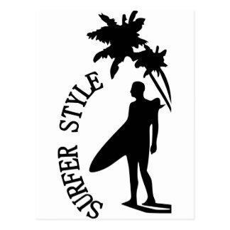 Estilo de la persona que practica surf tarjetas postales