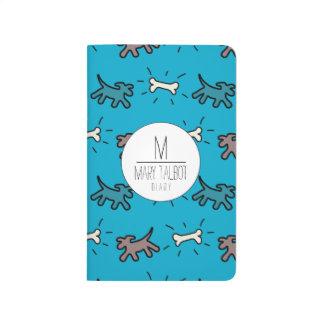 Estilo de la pintada del hueso de perro en azul cuadernos