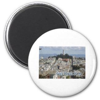 Estilo de la postal de San Francisco Imán Redondo 5 Cm