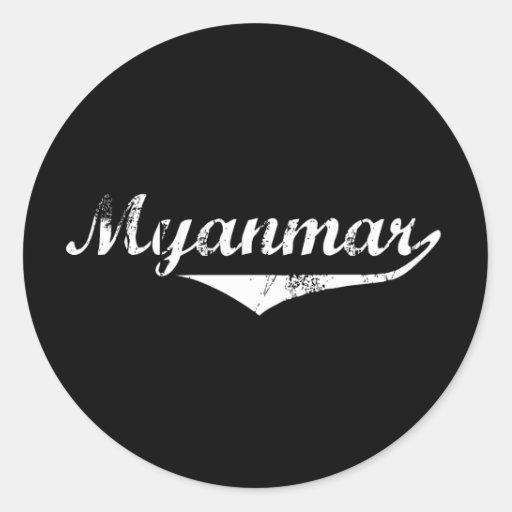 Estilo de la revolución de Myanmar Etiqueta Redonda