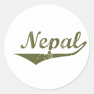 Estilo de la revolución de Nepal Etiquetas Redondas