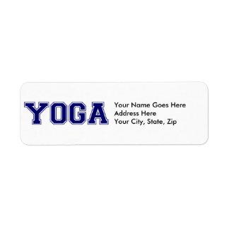 Estilo de la universidad de la yoga etiquetas de remite