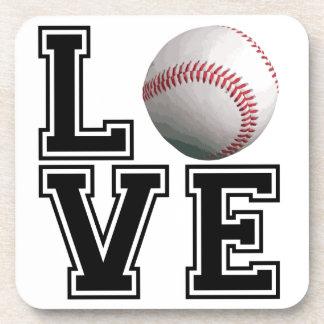 Estilo de la universidad del béisbol del amor posavasos de bebida