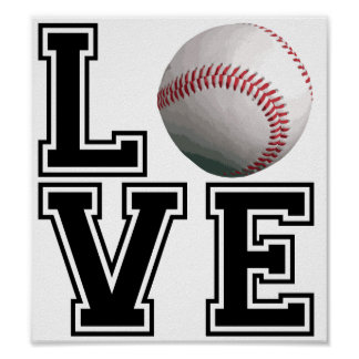 Estilo de la universidad del béisbol del amor póster