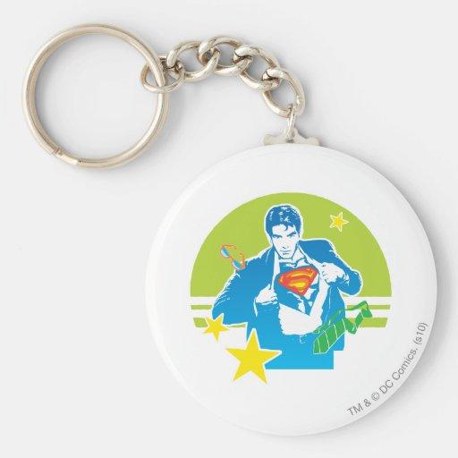 Estilo de los años 80 del superhombre llavero personalizado