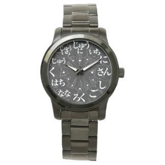 Estilo de los Hiragana MANGA de Japón [cara negra] Reloj