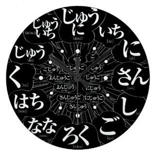 Estilo de los Hiragana MANGA de Japón [cara negra] Reloj Redondo Grande