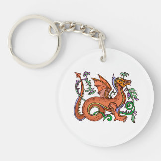 Estilo de lujo dragon.png llavero redondo acrílico a doble cara