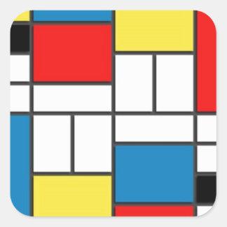 Estilo de Mondrian Pegatina Cuadrada