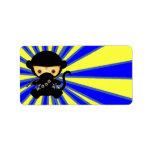 Estilo de Ninja Kawaii del mono Etiquetas De Dirección