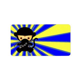 Estilo de Ninja Kawaii del mono Etiqueta De Dirección