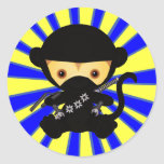 Estilo de Ninja Kawaii del mono Etiquetas Redondas