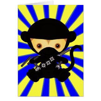 Estilo de Ninja Kawaii del mono Tarjeta De Felicitación