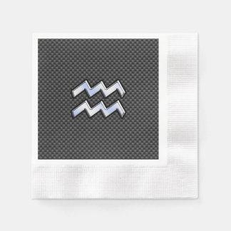 Estilo de plata de la fibra de carbono del símbolo servilleta de papel