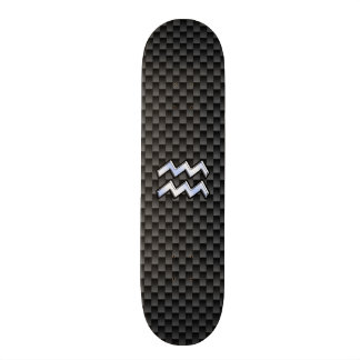 Estilo de plata de la fibra de carbono del símbolo skate board