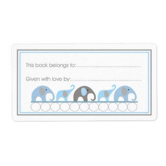 Estilo de relleno del Bookplate de los elefantes d Etiqueta De Envío