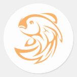 Estilo de salto del logotipo del icono del pegatinas redondas