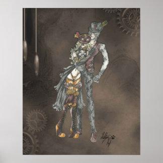 Estilo de Steampunk del abrazo Poster