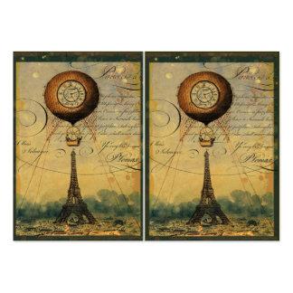Estilo de Steampunk del globo de la torre Eiffel y Tarjeta De Negocio