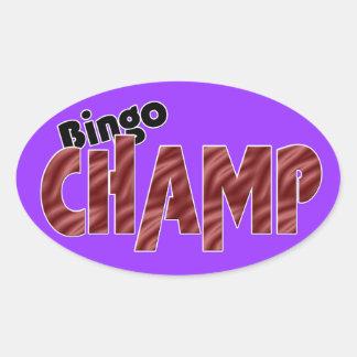Estilo de Vegas del campeón del campeón del bingo Pegatina Ovalada