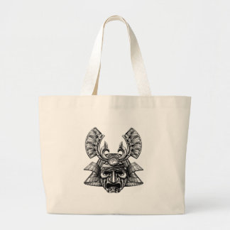 Estilo de Woodblock de la máscara del samurai Bolsa Tela Grande