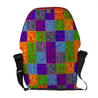 Estilo decorativo del arte pop del alfabeto del vi bolsas messenger