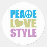 Estilo del amor de la paz etiquetas redondas