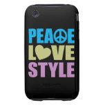 Estilo del amor de la paz iPhone 3 tough funda