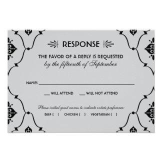 Estilo del art déco de la tarjeta el de RSVP del Invitaciones Personalizada