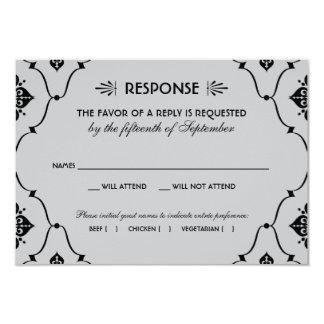 Estilo del art déco de la tarjeta el | de RSVP del Invitación 8,9 X 12,7 Cm