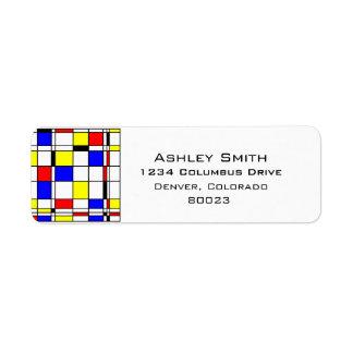 Estilo del arte de Mondrian Etiqueta De Remitente
