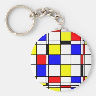 Estilo del arte de Mondrian Llavero Redondo Tipo Pin