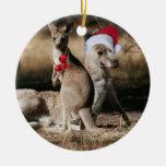 Estilo del australiano de KangaROOS del navidad Adorno Navideño Redondo De Cerámica