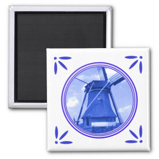 Estilo del azul de Delft del molino de viento de H Imán Cuadrado