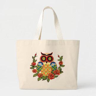 Estilo del búho y del mexicano de los rosas bolsa tela grande