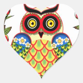 Estilo del búho y del mexicano de los rosas pegatina en forma de corazón