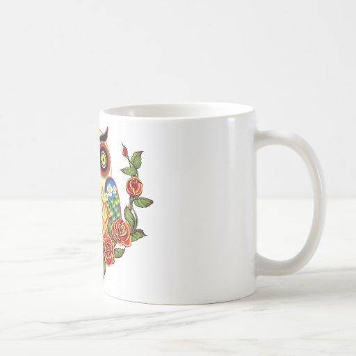 Estilo del búho y del mexicano de los rosas taza