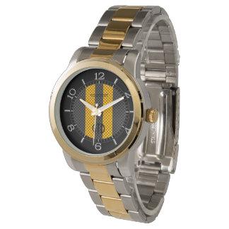 Estilo del carbono de las rayas del amarillo de reloj de mano