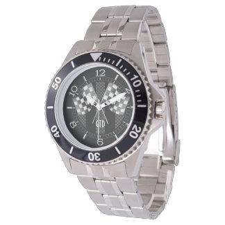 Estilo del carbono de las rayas negras de las relojes de pulsera