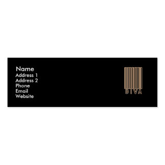 Estilo del código de barras de la diva tarjetas de visita mini