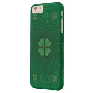 Estilo del día de St Patrick verde del trébol Funda De iPhone 6 Plus Barely There