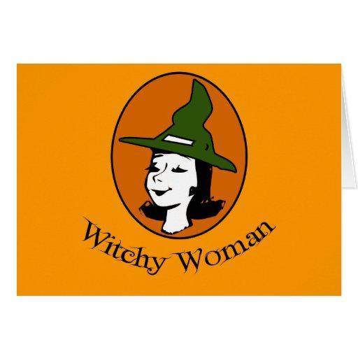 Estilo del dibujo animado de la mujer de Witchy Tarjeta De Felicitación